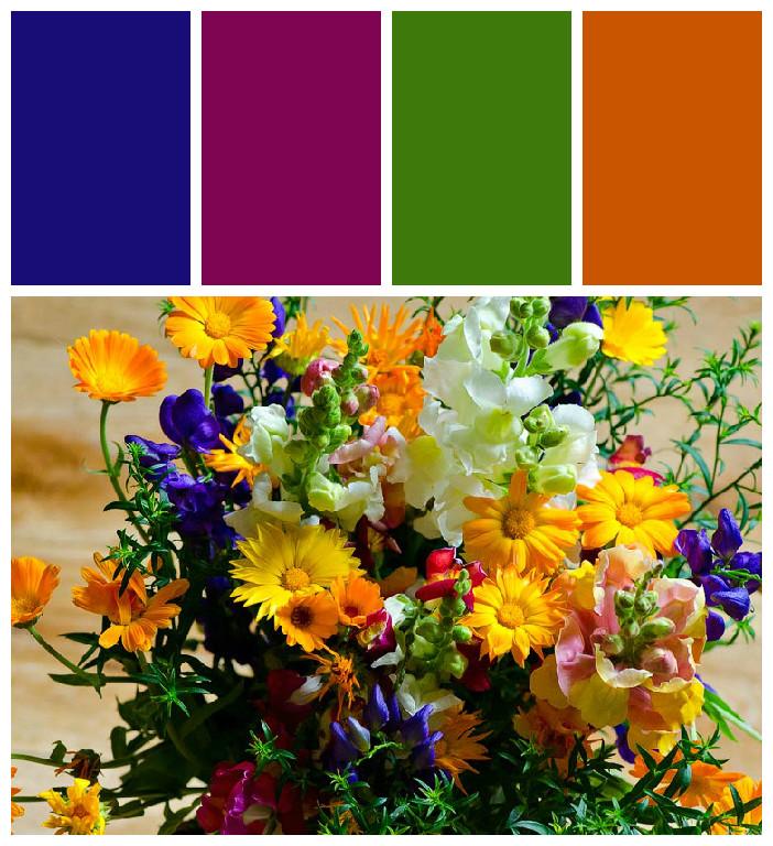 Правильное совмещение цветов в букетах